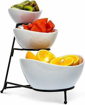 Three Tier Serving Stand (Three Tier Serving Tray Set: Metal Display Stand with 3 White Stoneware)