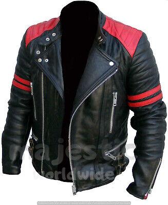 MEN'S CLASSIC DESIGN BRANDO RED & BLACK BIKER GENUINE LEATHER JACKET- BRANDO R&B