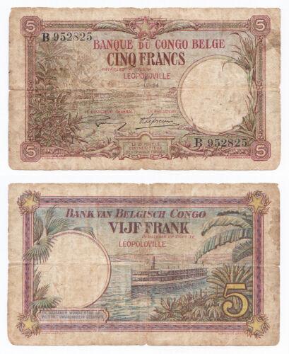 Belgian Congo, 5 Francs 1924, Pick 8b, VG/F, Leopoldville
