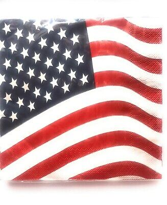 NEW Patriotic 4th of July American Flag USA Party Paper Napkins 18 - 4th Of July Paper Products