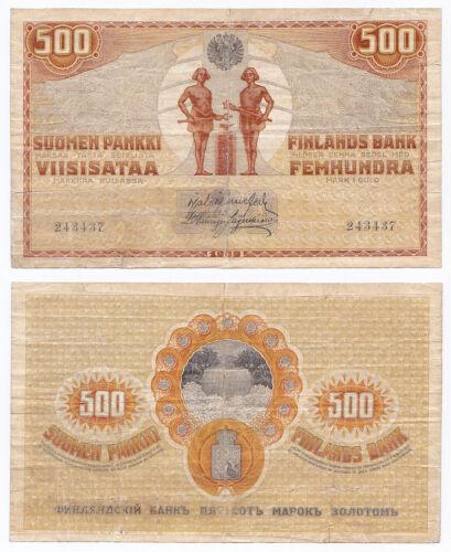 Finland, 500 Markkaa 1909 (1918), Pick 23, VG/F