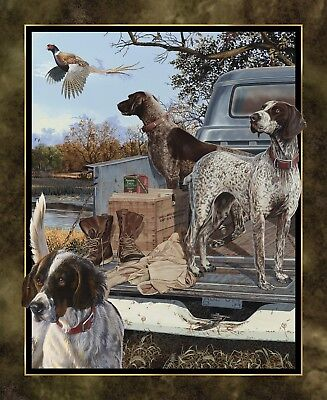 Dog Days Quilt Top Wall Hanging Panel From Wild Wing Collection Cotton Fabric