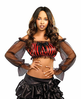 Sexy Striped Crop Top for Pirate/Saloon Girl Themed Costumes New by Dreamgirl - Themes For Costumes