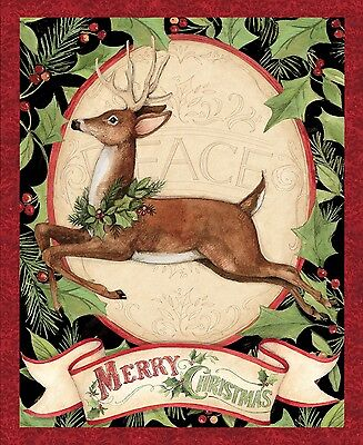 (Merry Christmas Woodland Deer Panel 100% cotton Fabric by the panel  36