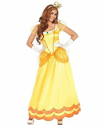 Daisy Mario Costume (Princess Daisy Women's Costume Super Mario Bros Cosplay Dress Gown Adult)