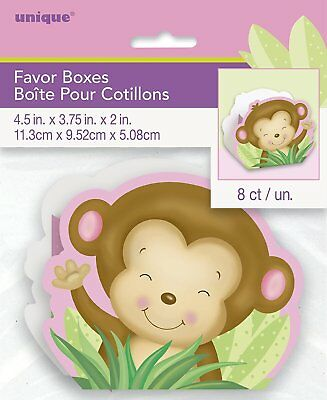 Girl Monkey Baby Shower Favor Boxes, 8ct Party