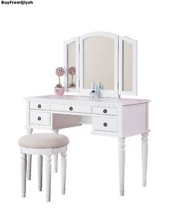 Bobkona St. Croix Collection Vanity Set with Stool, Drawer-Home-Organize-Beauty