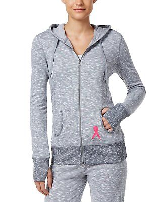 Cancer Zip Hoodie (Ideology Women's Pink Ribbon Grey Heathered Breast Cancer Zip-up Hoodie NWT XS)