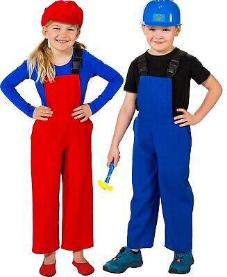 Boys Girls Red Blue Gamer Dungarees Overalls Fancy - Gamer Girl Kostüme