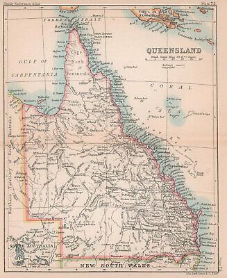 Queensland. BARTHOLOMEW 1893 old antique vintage map plan chart