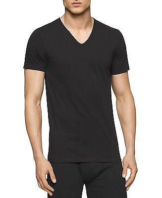 $70 CALVIN KLEIN Men's 3 PACK Slim Fit V NECK T SHIRT Cotton Black UNDERSHIRT M