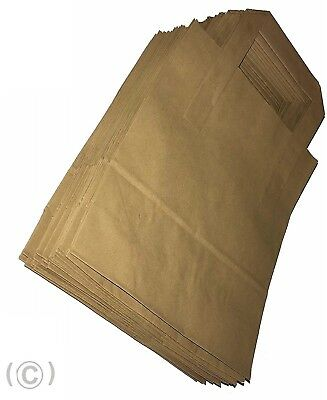 250 Brown Paper Carrier Bags with Flat Handles 18x23x9 Takeaway Restaurant Kraft