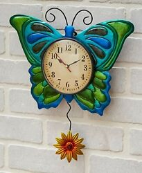 Butterfly Metal Insect Flower Pendulum Wall Clock Kitchen Bedroom Home Decor