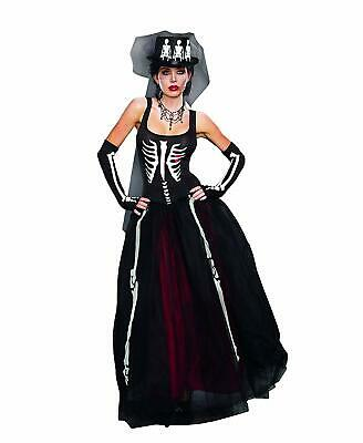 Ms. Bones Skeleton Girl Dead Skull Gothic Fancy Dress Halloween Adult Costume - Dead Girl Halloween Costumes