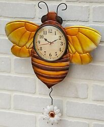 Bee Metal Insect Flower Pendulum Wall Clock Kitchen Bedroom Home Decor