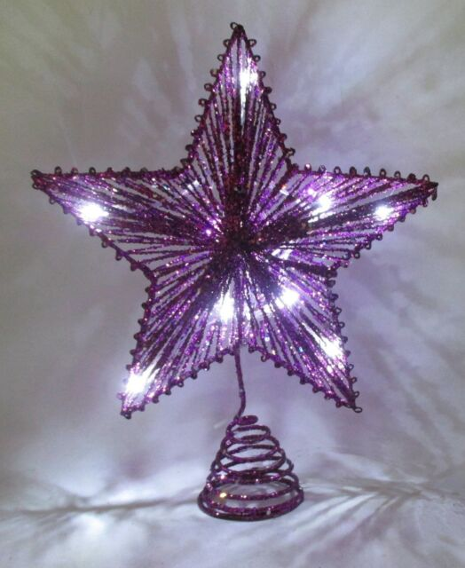 """10"""" Purple Springy Star With White Led Lights - Christmas Tree Top Star (RA153)"""