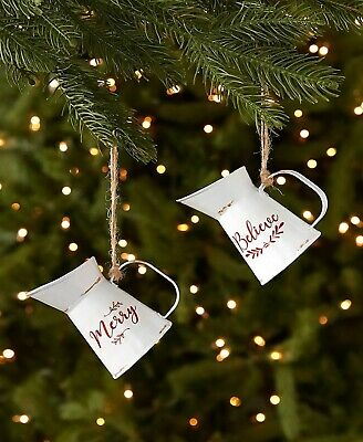 Set of 2 Metal Pitchers Christmas Tree Ornaments Country Farmhouse Holiday Decor ()