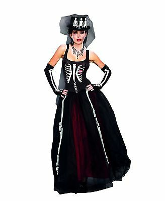 Ms. Bones Dress Zombie Bride Day of The Dead Skeleton Gown Women's Costume SM-XL - Skeleton Bride Costume