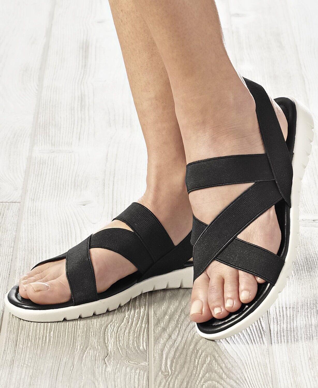 Women's Stretch Strap Sandals - Black 10