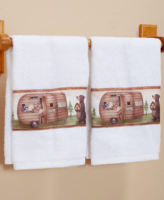 Set of 2 Hand Towels Camper Moose Raccoon Lodge Log Cabin Ba