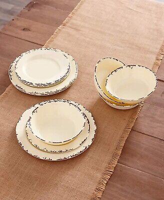 Farmhouse Solid Melamine Country Dinnerware - Cream 12-Pc. Plates & Bowl Set Dinnerware Set Cream