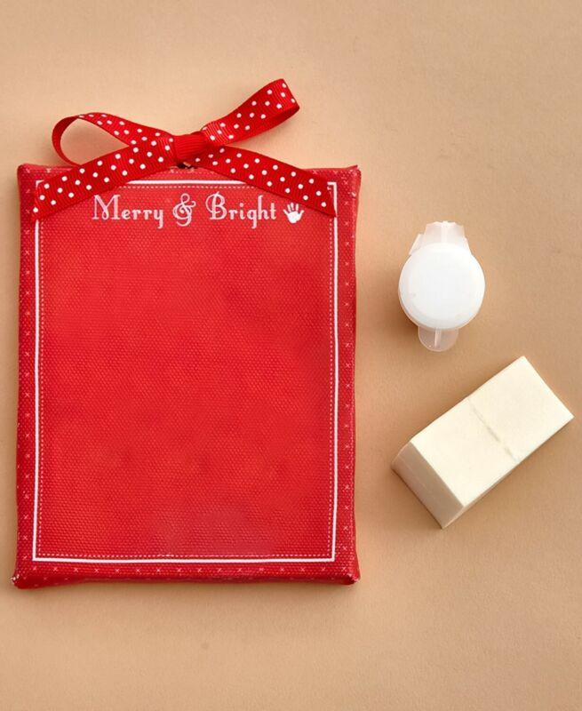 Handprint Keepsake Christmas Tree Ornament Holliday Home Decor -  Red Canvas