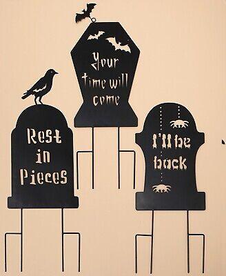 Halloween Garden Stakes (3 Tombstones Spooky Shadow Garden Stakes Halloween Yard Lawn Art Fall)