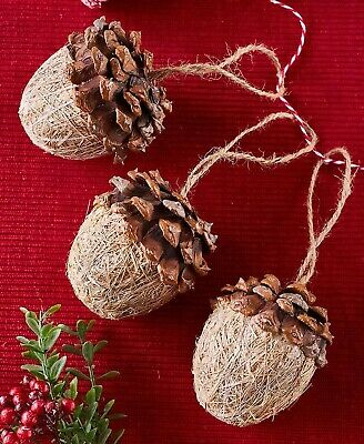 Set of 3 Acorn Christmas Tree Ornaments Holiday Home Decor