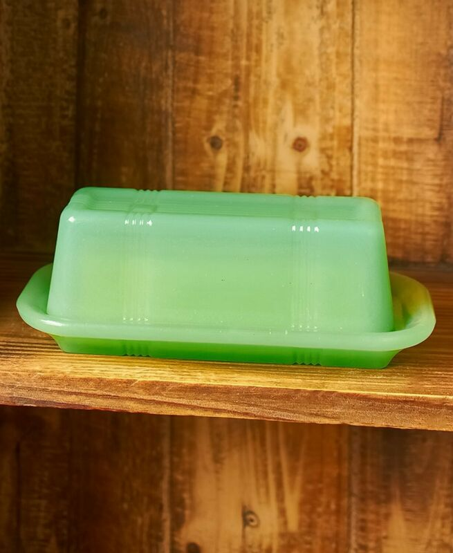 Vintage Country Glass Kitchen Accent - Butter Dish