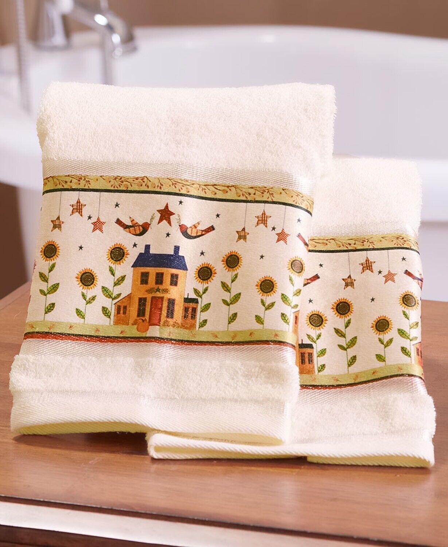 Set of 2 Hand Towels Country Harvest Sunflower Pumpkin Birds