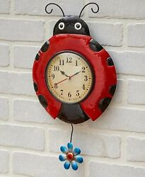 Ladybug Metal Insect Flower Pendulum Wall Clock Kitchen Bedroom Home Decor