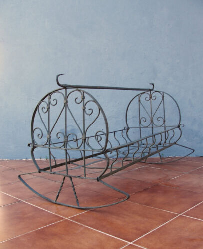 Antique Ornate Cradle Iron wrought Crib Rocking Baby Bed 1900