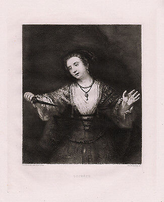"""Powerful 1800s REMBRANDT Antique Etching """"Story of Lucretia"""" SIGNED Framed COA"""