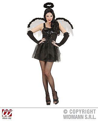 HALLOWEEN CARNEVALE COSTUME VESTITO DONNA ANGELO SEXY BLACK ANGEL TAGLIA S
