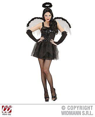 HALLOWEEN CARNEVALE VESTITO COSTUME DONNA ANGELO SEXY BLACK ANGEL TAGLIA L