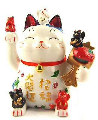 Feng Shui Maneki Neko Lucky Cat/Waving Hand Cat Coin Bank for Wealth](Guy Waving)