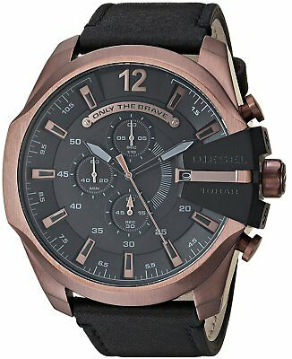 *BRAND NEW* Diesel Men's Chronograph Mega Chief Black Leather Watch DZ4459