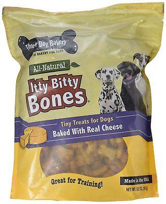 Three Dog Bakery Itty Bitty Bones Baked Dog Treats, Cheese, 32 oz, New, Free Shi