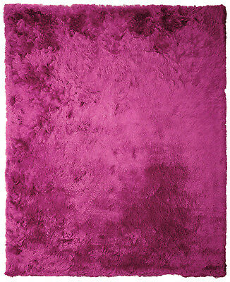 Hot Pink Shag Rug (Soft Fluffy Thick Dense Pile Solid Hot Pink Non-Skid Shaggy Shag Pile Area)