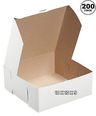 200 Pack White Bakery Pastry Boxes 10 X 10 X 5 Inches