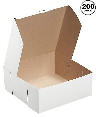 200 Pack White Bakery Pastry Boxes - 6 X 6 X 4 Inches