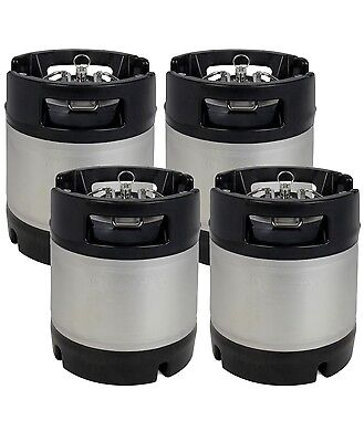 New Kegco 1.75 Gallon Home Brew Ball Lock Keg With Rubber Handle - Set Of 4