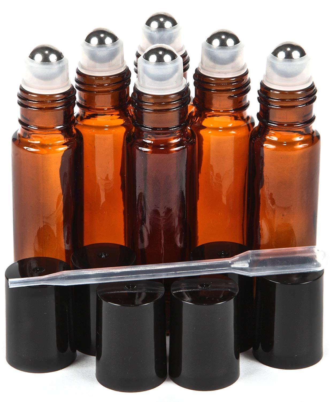 6 Pk, Amber, 10 ml Glass Roll-on Bottles , Stainless Steel R