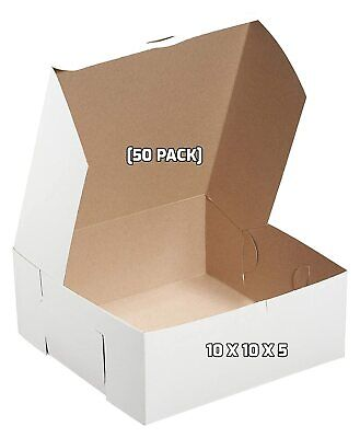 50 Pack White Bakery Pastry Boxes 10 X 10 X 5 Inches