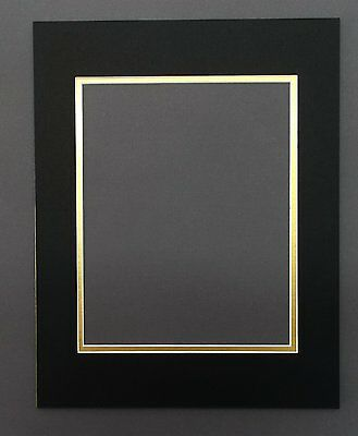 10 11x14 Double Mats with WhiteCore for 8x10 +Backing+ Bags,Black Over Gold