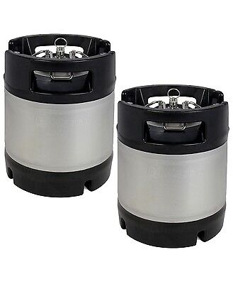 New Kegco 1.75 Gallon Home Brew Ball Lock Keg With Rubber Handle - Set Of 2