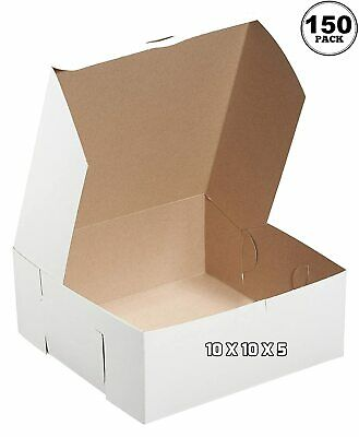 150 Pack White Bakery Pastry Boxes 10 X 10 X 5 Inches