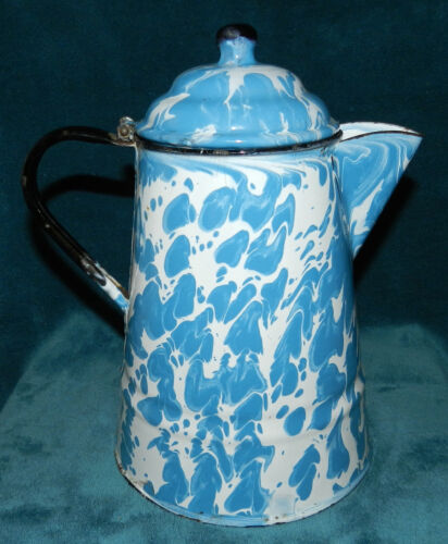 *SALE* NICE ANTIQUE VINTAGE BLUE/WHITE SWIRL GRANITEWARE/ENAMELWARE COFFEE POT