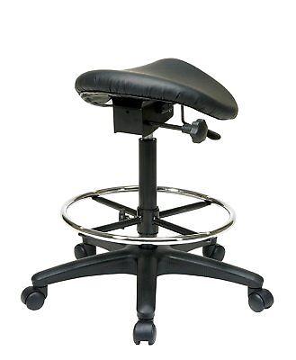 Tall Saddle Stool Black Medical Dental Office Chair Ergonomic Adjustable Salon