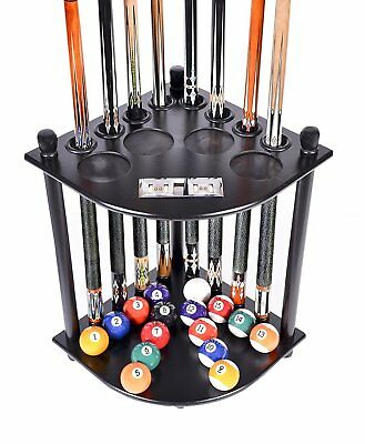 Black Pool Table Rack Supplies Cue Balls Stick Holder Chalk Billiards Stand Wood
